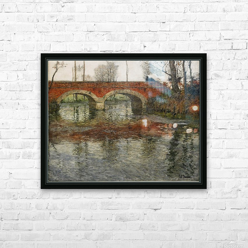 French River Landscape with a Stone Bridge HD Sublimation Metal print with Decorating Float Frame (BOX)