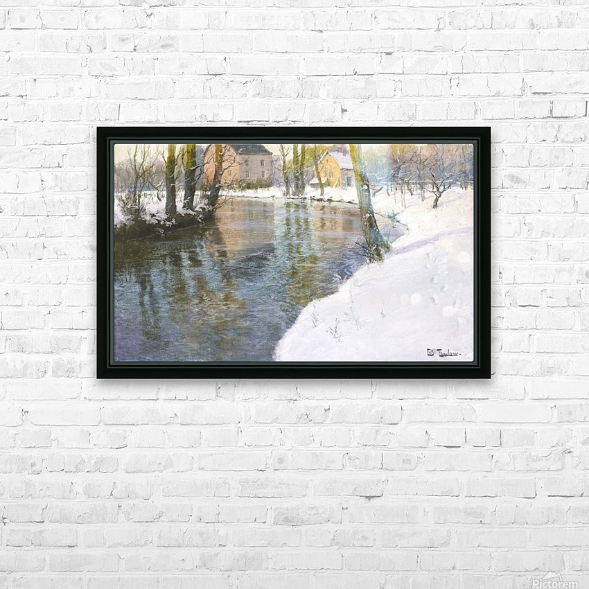 Snowy landscape HD Sublimation Metal print with Decorating Float Frame (BOX)