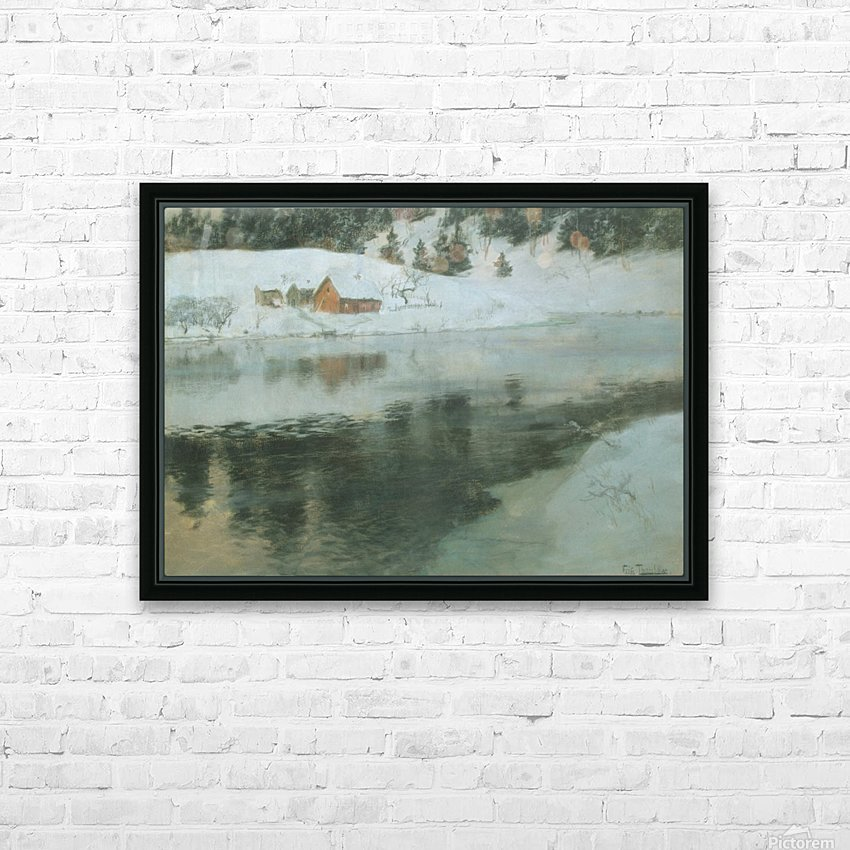 Winter landscape with river HD Sublimation Metal print with Decorating Float Frame (BOX)