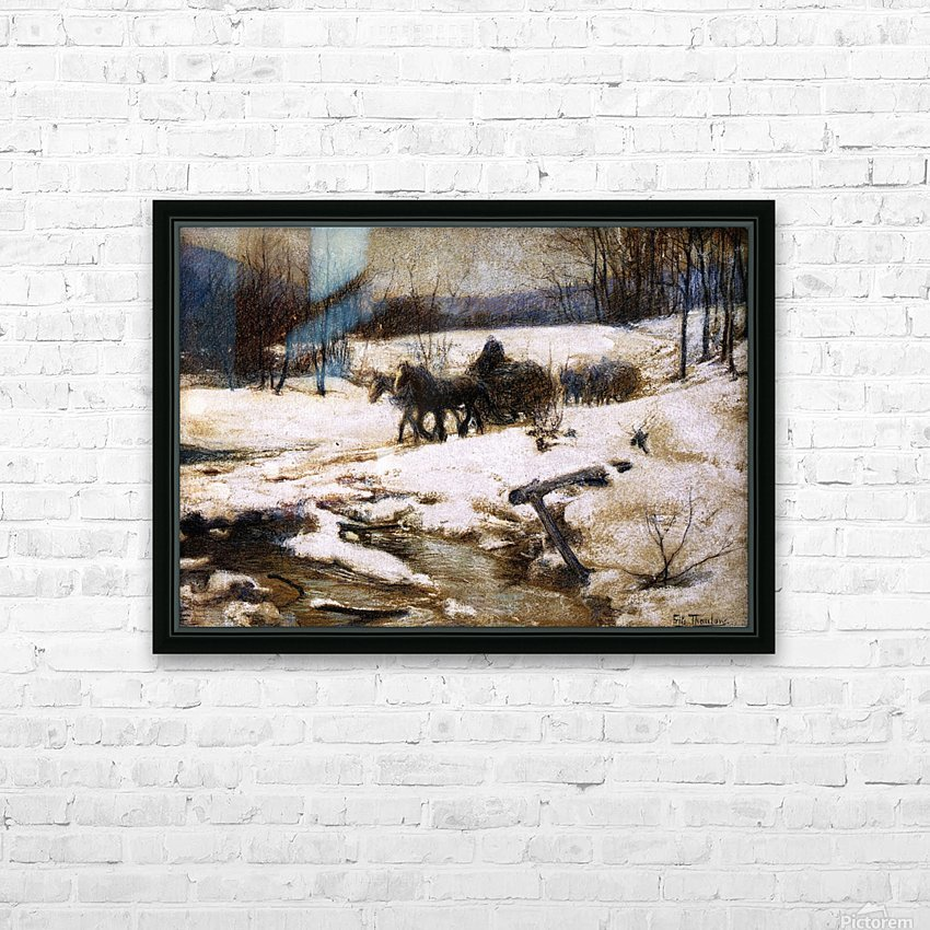 Horse Drawn Carts in Winter HD Sublimation Metal print with Decorating Float Frame (BOX)