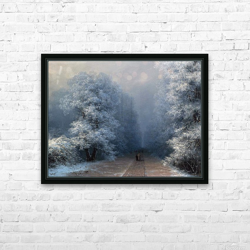 Winter landscape and alley HD Sublimation Metal print with Decorating Float Frame (BOX)