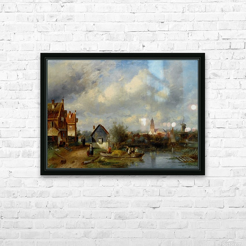 Figures on a Barge Near a Winterside Village HD Sublimation Metal print with Decorating Float Frame (BOX)