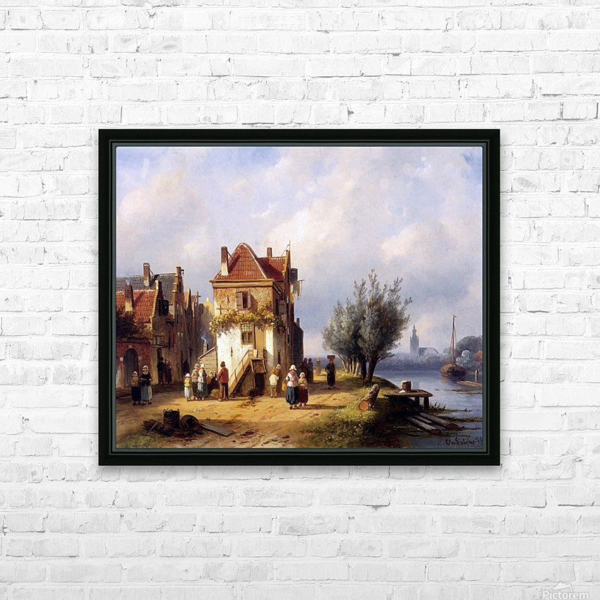 Leickert Charles Henri View on a village near to a river Sun HD Sublimation Metal print with Decorating Float Frame (BOX)