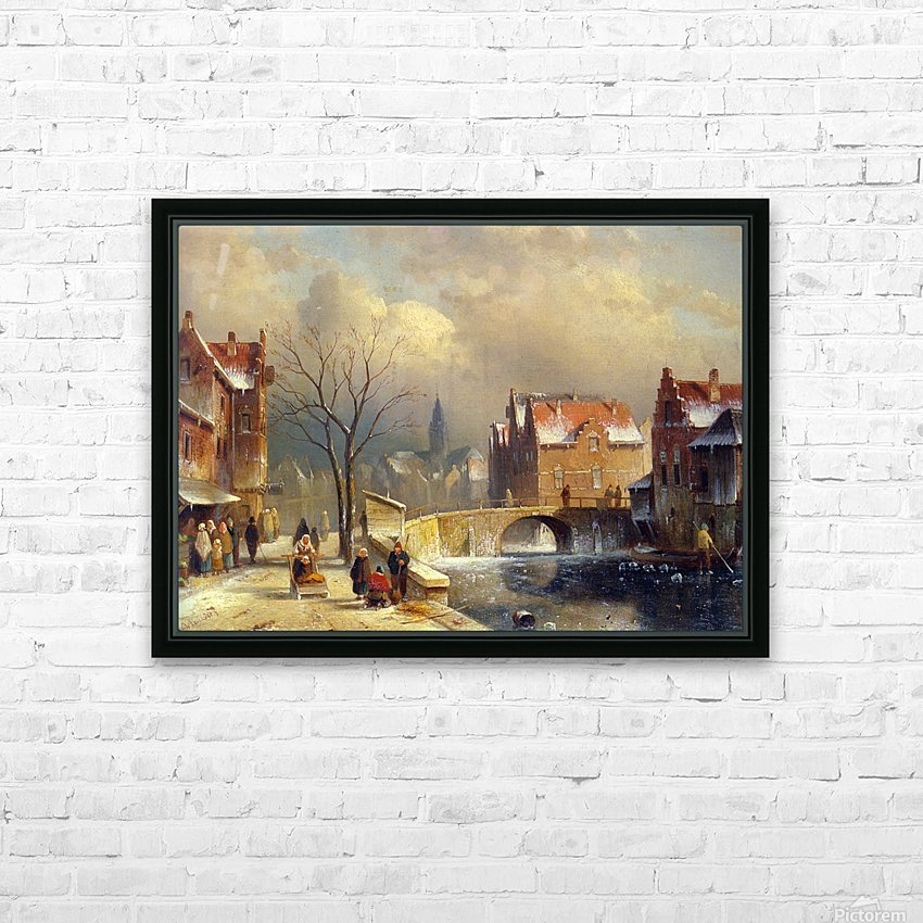 Winter villagers on a snowy street by a canal HD Sublimation Metal print with Decorating Float Frame (BOX)