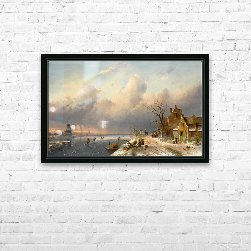 Winter landscape with figures and windmills HD Sublimation Metal print with Decorating Float Frame (BOX)