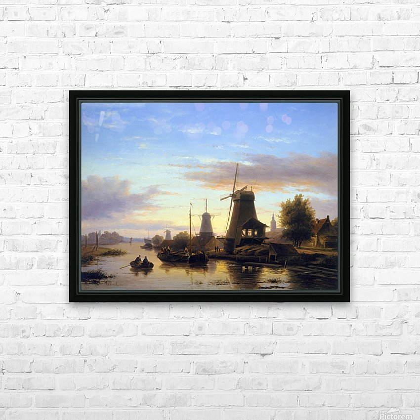 Mills at the Schie at dusk Sun HD Sublimation Metal print with Decorating Float Frame (BOX)