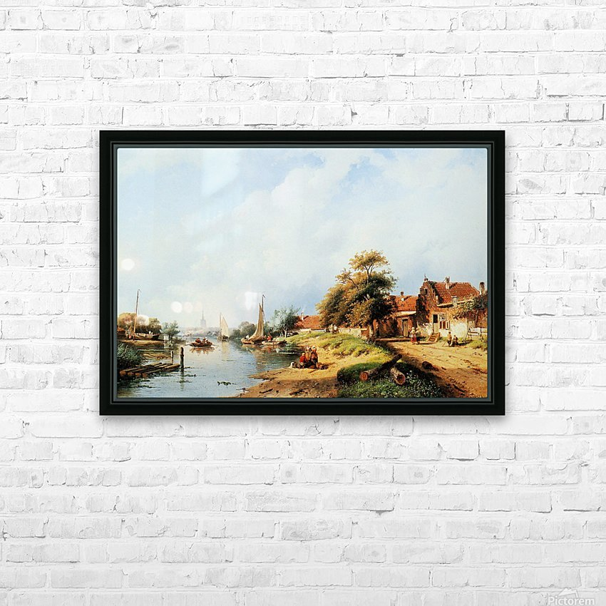 Summer river landscape HD Sublimation Metal print with Decorating Float Frame (BOX)
