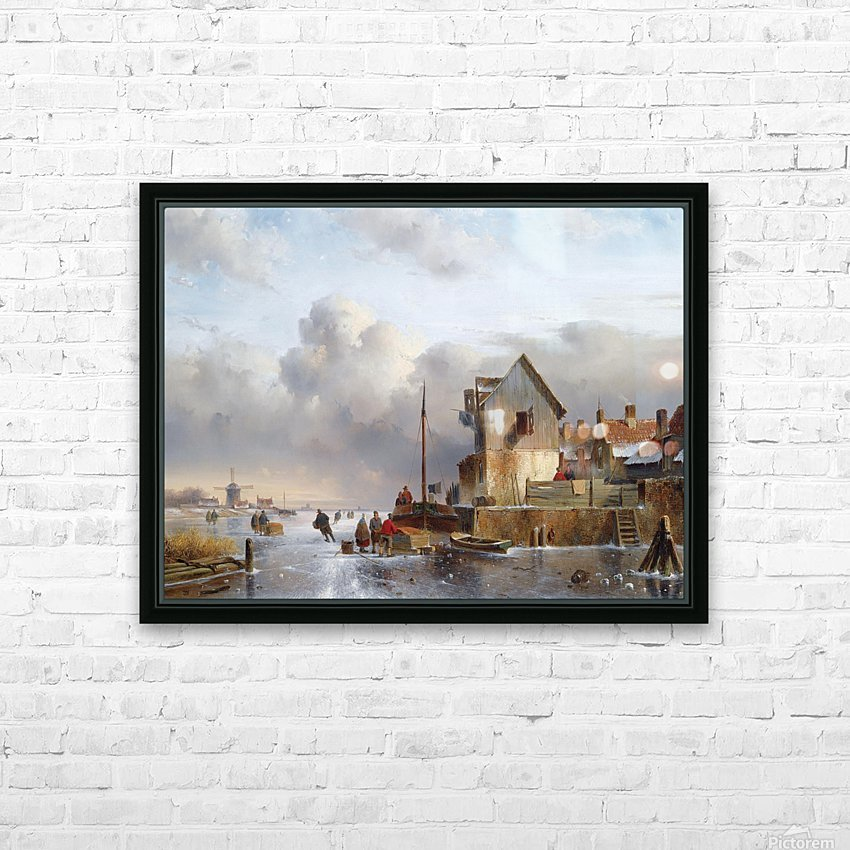 Townsfolk on lake during winter HD Sublimation Metal print with Decorating Float Frame (BOX)