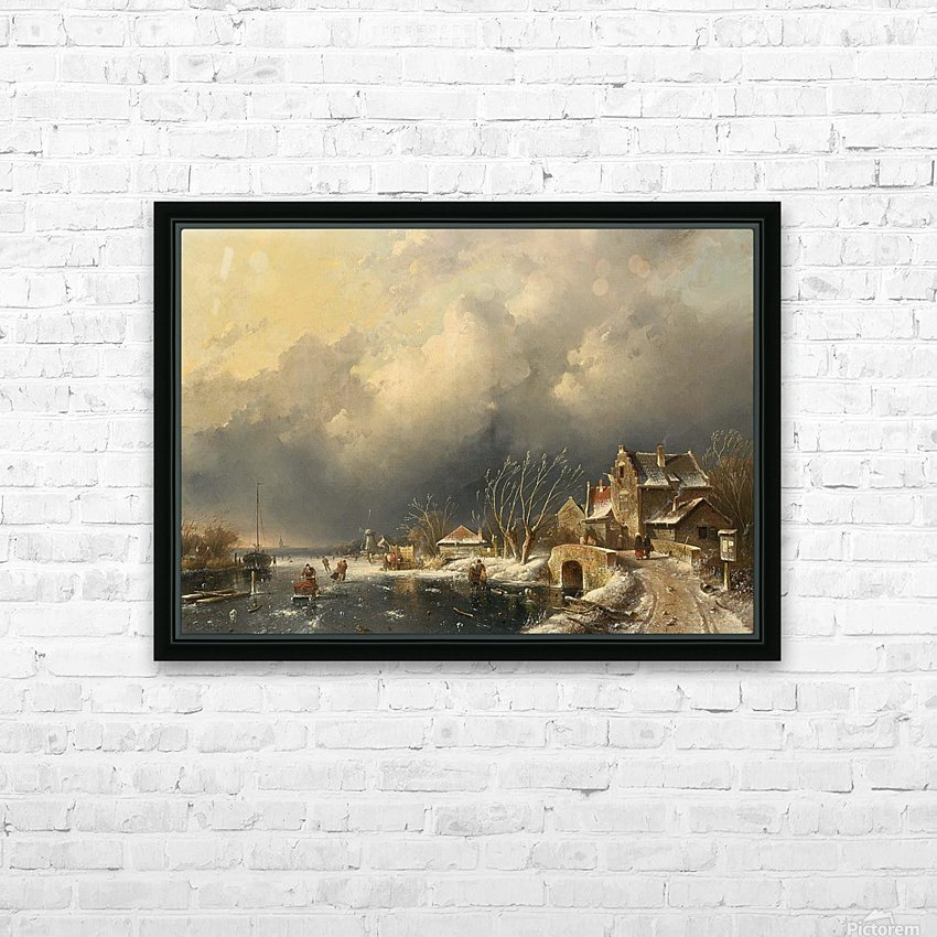 Winter landscape with skaters near a Koek-en-Zopie HD Sublimation Metal print with Decorating Float Frame (BOX)