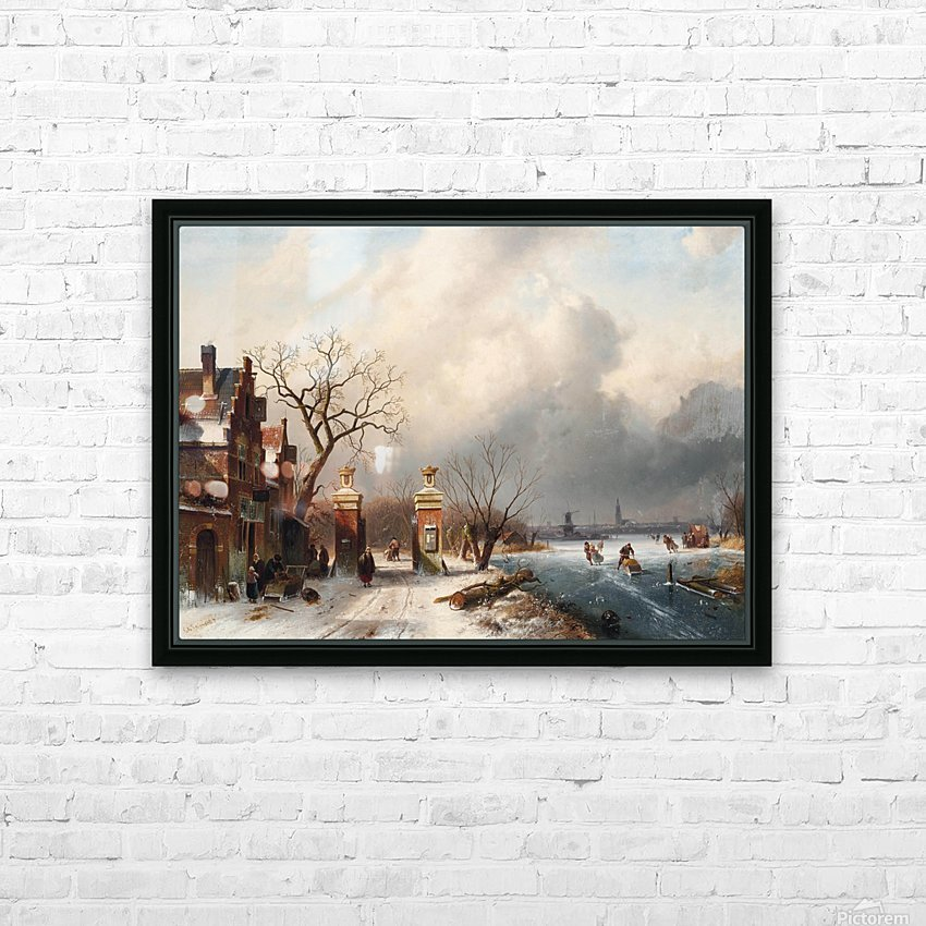 Skaters by a Dutch hamlet HD Sublimation Metal print with Decorating Float Frame (BOX)