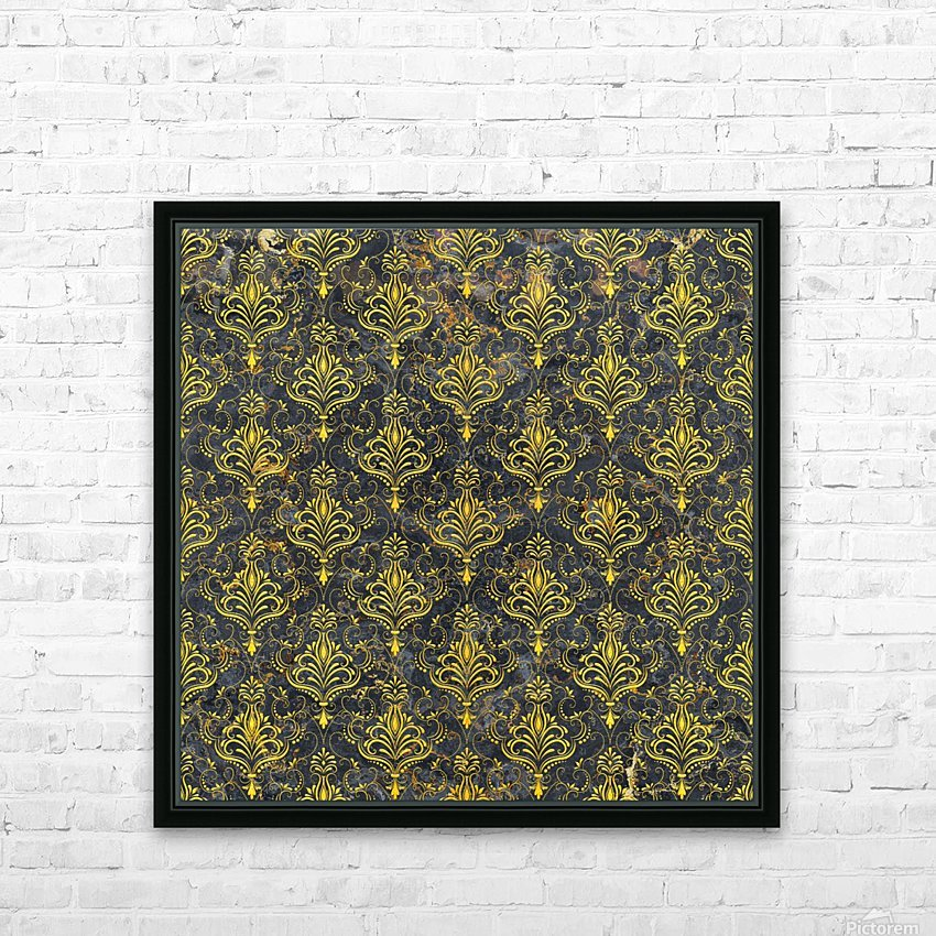 Golden pattern with marble HD Sublimation Metal print with Decorating Float Frame (BOX)