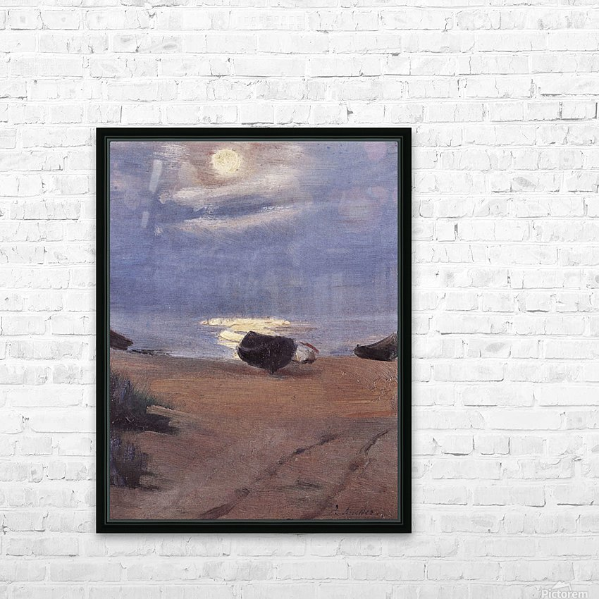 Boats in the moonlight on South Beach by Anna Ancher HD Sublimation Metal print with Decorating Float Frame (BOX)