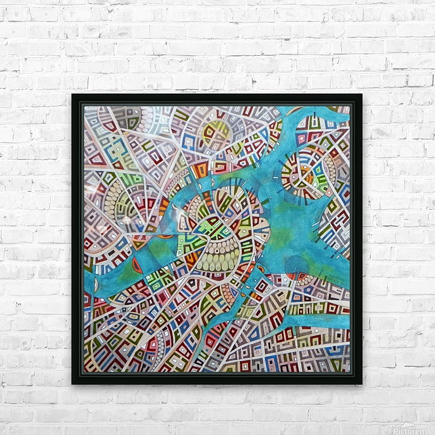 imaginary map of Boston HD Sublimation Metal print with Decorating Float Frame (BOX)