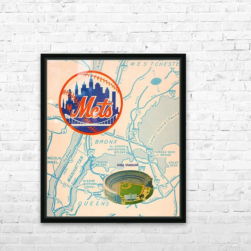vintage mets shea stadium map poster metal man cave sign HD Sublimation Metal print with Decorating Float Frame (BOX)