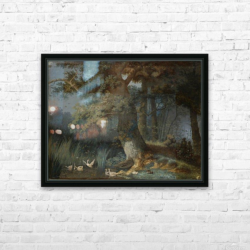 Eendenvijver in een bos met twee jagers HD Sublimation Metal print with Decorating Float Frame (BOX)