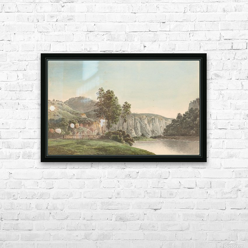 River Landscape with Distant Cliffs HD Sublimation Metal print with Decorating Float Frame (BOX)