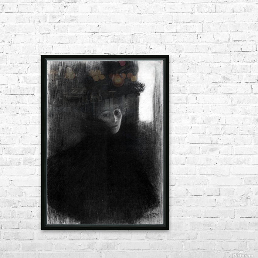 Lady with a hat and Cape by Klimt HD Sublimation Metal print with Decorating Float Frame (BOX)