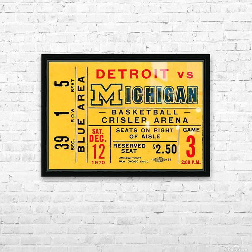 1970 michigan wolverines basketball ticket stub collegiate art HD Sublimation Metal print with Decorating Float Frame (BOX)