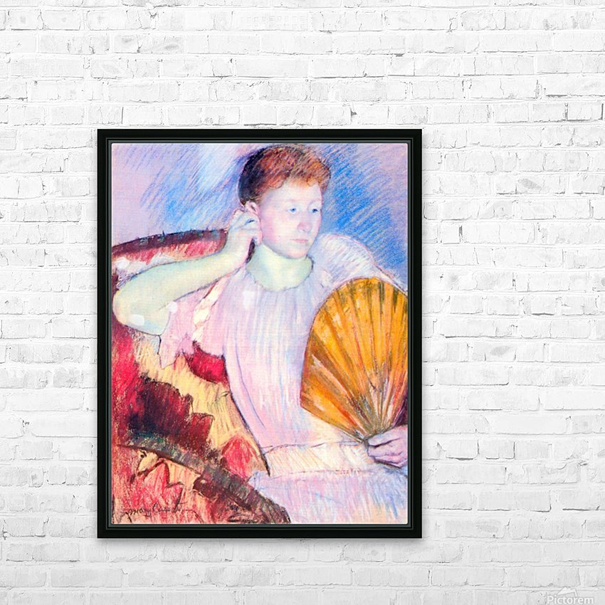Lady with Fan by Cassatt HD Sublimation Metal print with Decorating Float Frame (BOX)