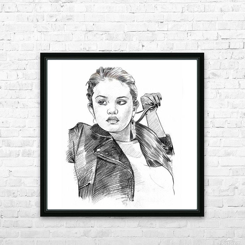 Selena Gomez - Celebrity Pencil Art HD sublimation métal imprimé avec décoration flotteur cadre (boîte)