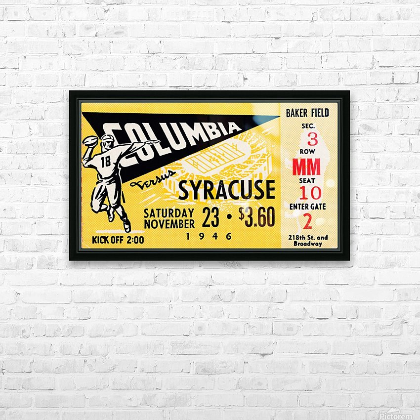 1946 columbia syracuse football ticket stub art number 18 jersey HD Sublimation Metal print with Decorating Float Frame (BOX)