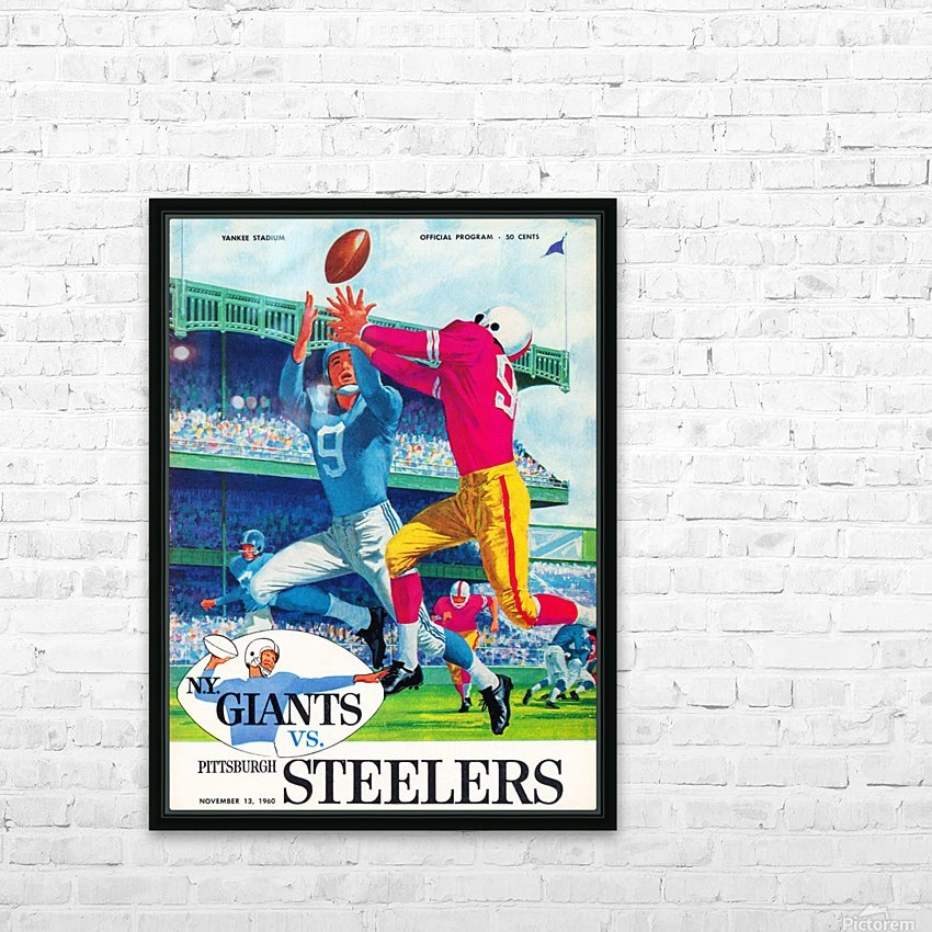 1960 new york giants program cover print on wood HD Sublimation Metal print with Decorating Float Frame (BOX)