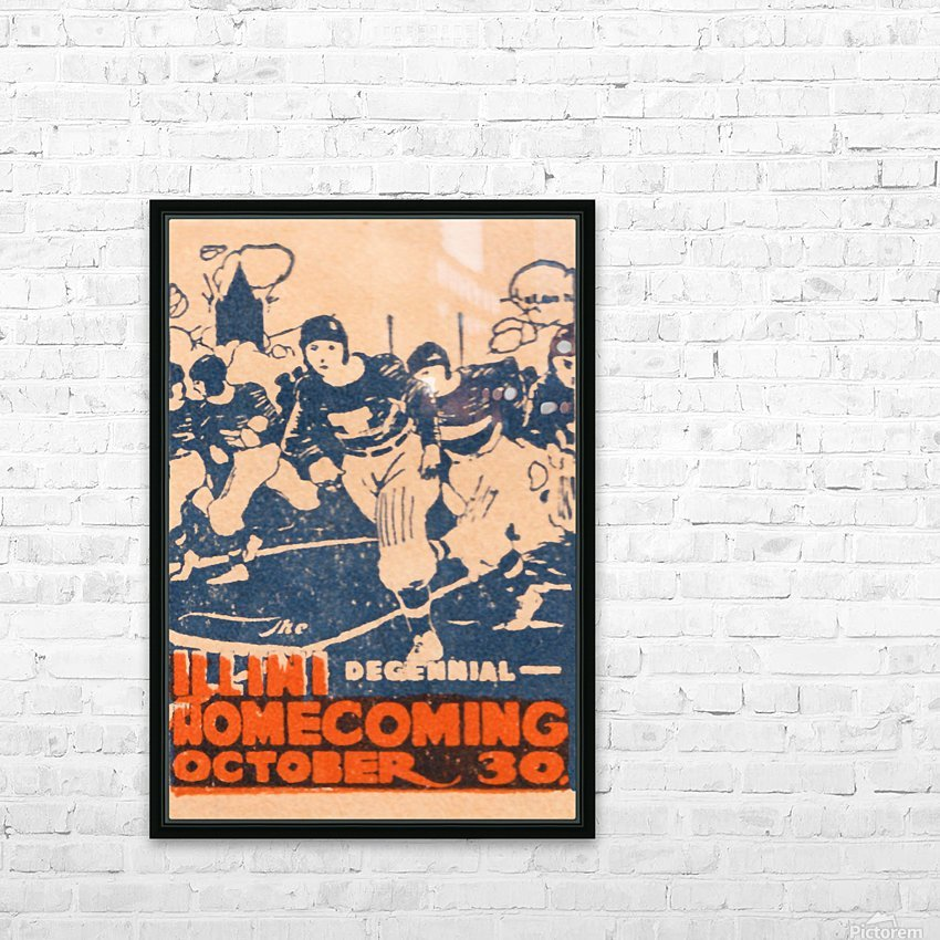 1920 illinois illini football homecoming art HD Sublimation Metal print with Decorating Float Frame (BOX)