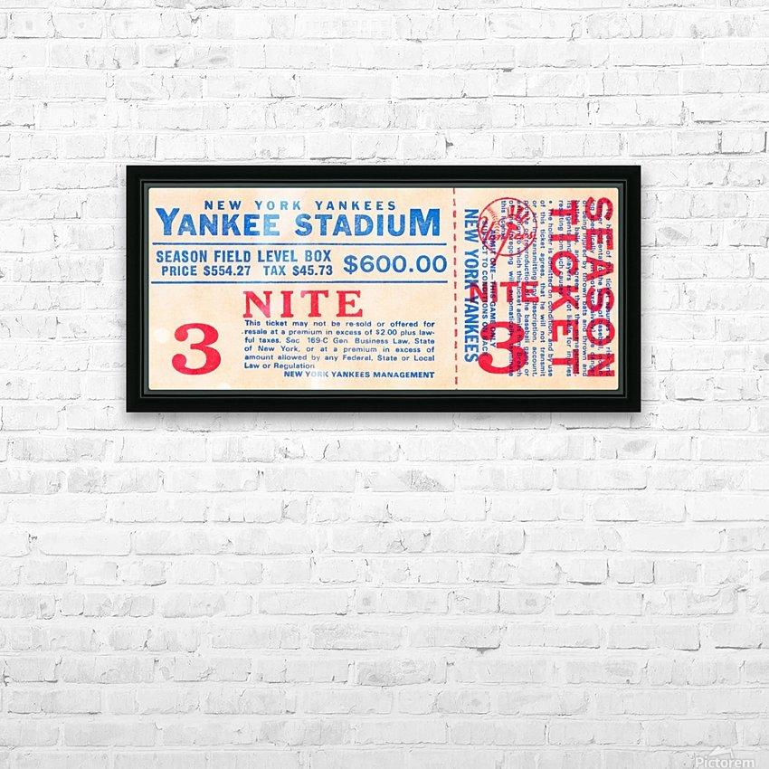 vintage yankees ticket stub metal sign HD Sublimation Metal print with Decorating Float Frame (BOX)