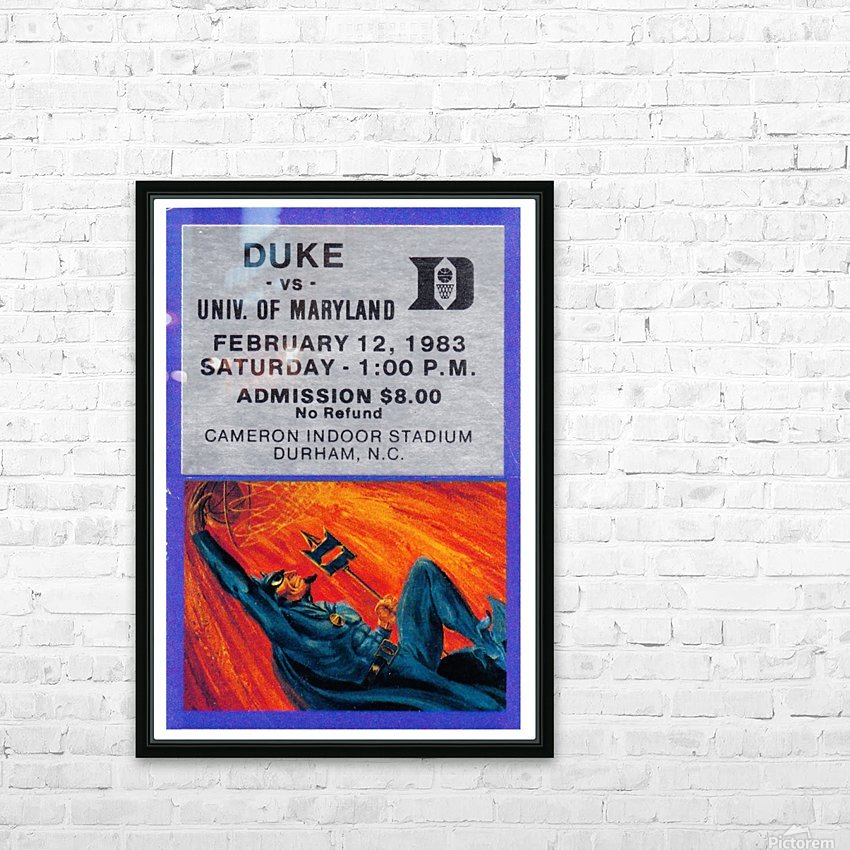 1983 duke basketball cameron indoor stadium ticket poster HD Sublimation Metal print with Decorating Float Frame (BOX)