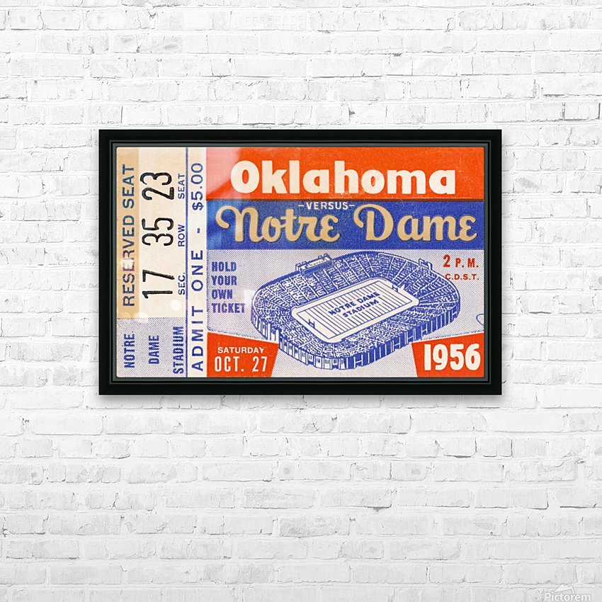 1956 oklahoma notre dame college football ticket stub wall art HD Sublimation Metal print with Decorating Float Frame (BOX)