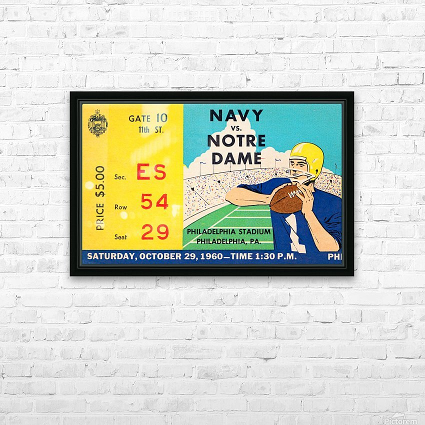 1960 navy notre dame ticket stub canvas HD Sublimation Metal print with Decorating Float Frame (BOX)