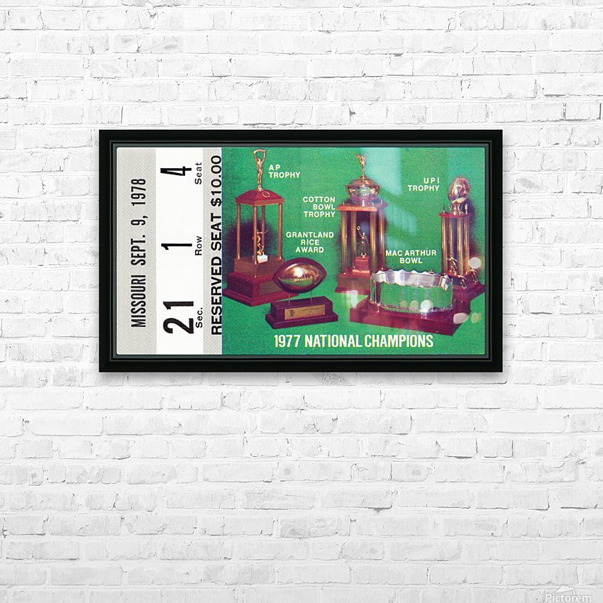1978 notre dame football ticket stub prints HD Sublimation Metal print with Decorating Float Frame (BOX)