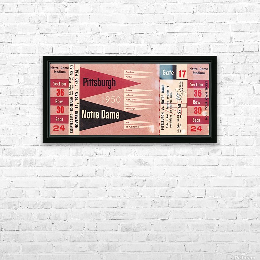 1950 pittsburgh notre dame vintage college football ticket wall art HD Sublimation Metal print with Decorating Float Frame (BOX)