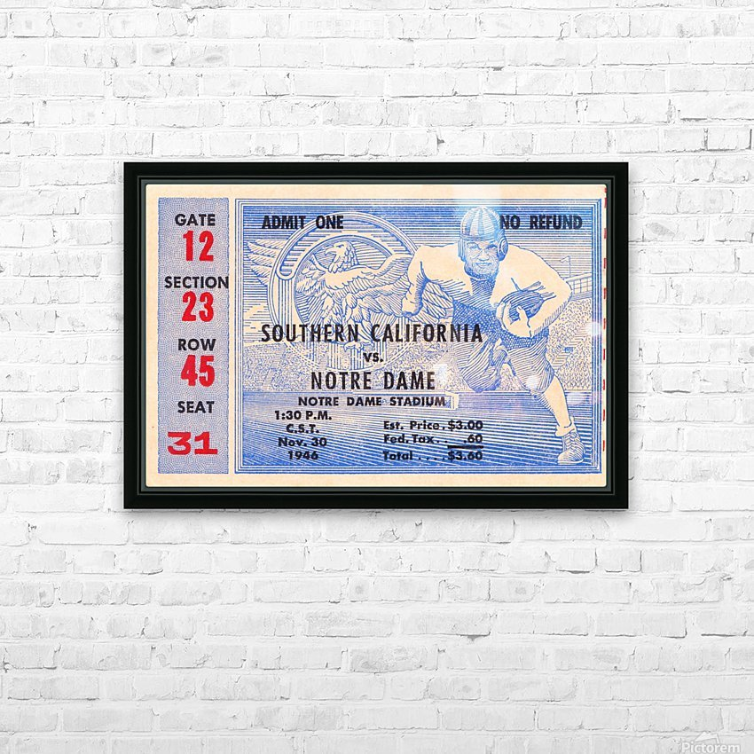 1946 notre dame southern california ticket stub framed prints HD Sublimation Metal print with Decorating Float Frame (BOX)