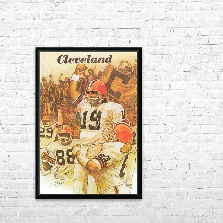 vintage cleveland browns nfl art poster HD Sublimation Metal print with Decorating Float Frame (BOX)