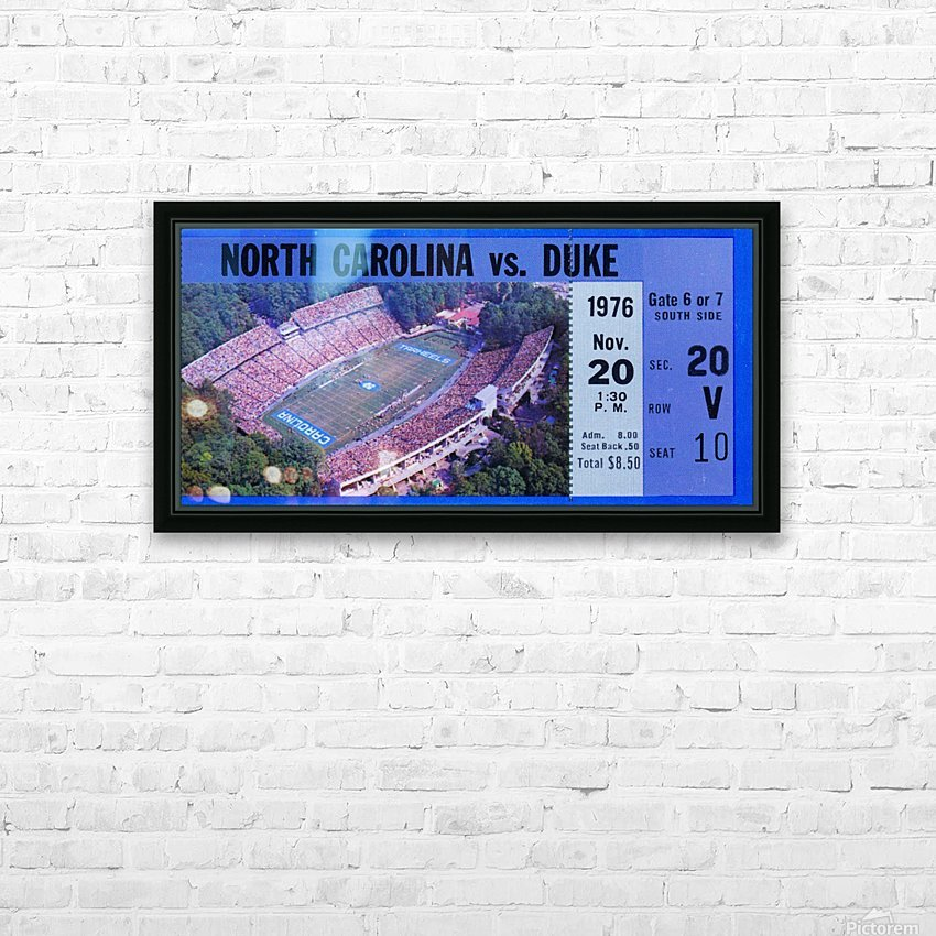 1976 duke north carolina vintage college football ticket art for the wall HD Sublimation Metal print with Decorating Float Frame (BOX)