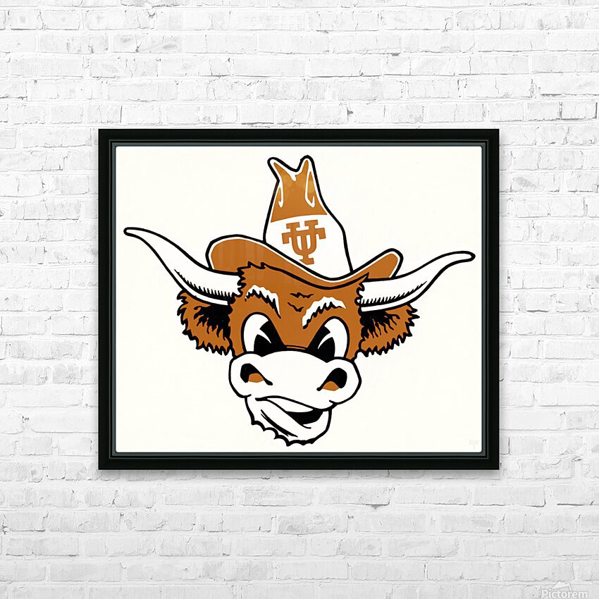 vintage texas longhorn cartoon art ut austin HD Sublimation Metal print with Decorating Float Frame (BOX)