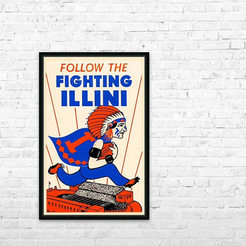 1930 vintage university of illinois fighting illini poster HD Sublimation Metal print with Decorating Float Frame (BOX)
