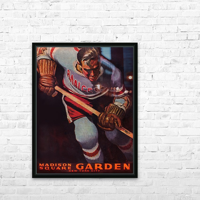 1950 new york rangers nhl hockey madison square garden poster HD Sublimation Metal print with Decorating Float Frame (BOX)
