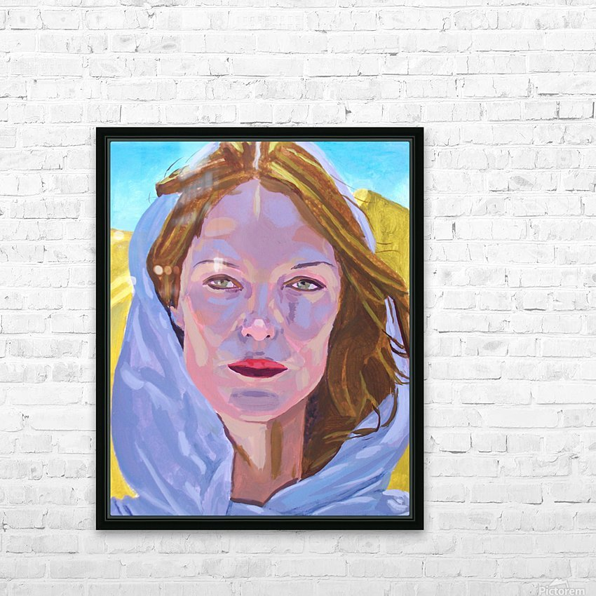 Beautiful blonde woman under a hard sun - Modern, Realism, Figurative, Portraiture, Acrylic  series HD Sublimation Metal print with Decorating Float Frame (BOX)