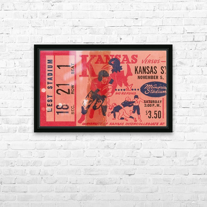 1955 university of kansas jayhawks super vintage college football art HD Sublimation Metal print with Decorating Float Frame (BOX)
