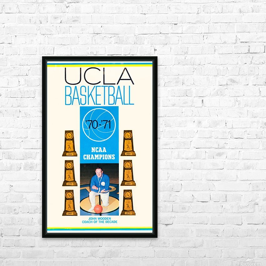 1970 ucla bruins basketball john wooden poster ncaa champions HD Sublimation Metal print with Decorating Float Frame (BOX)