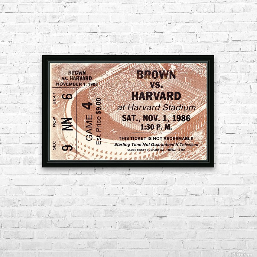 1986 harvard university college football ticket stub canvas art HD Sublimation Metal print with Decorating Float Frame (BOX)