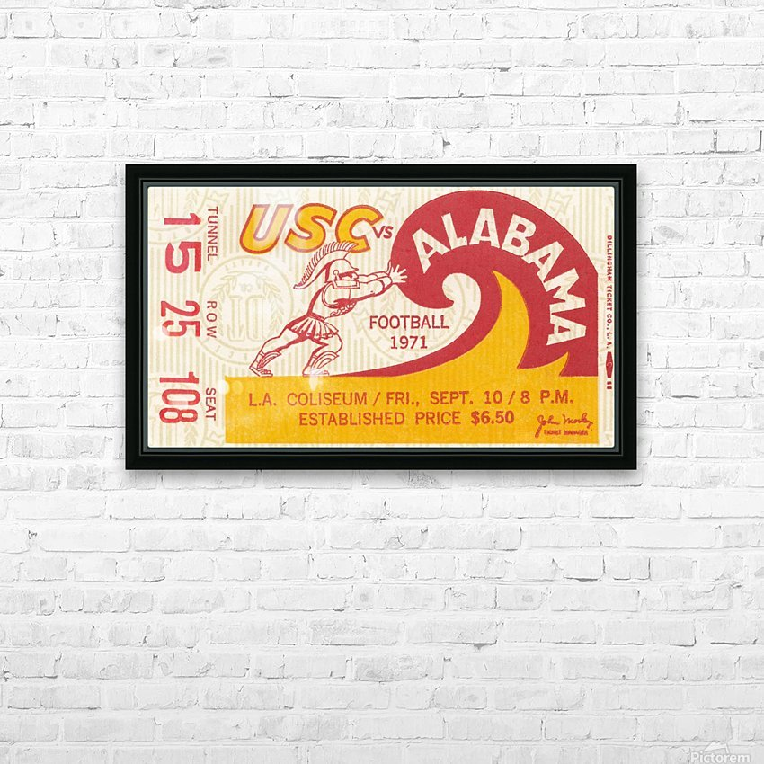 1971 alabama usc trojans football ticket stub prints on wood HD Sublimation Metal print with Decorating Float Frame (BOX)