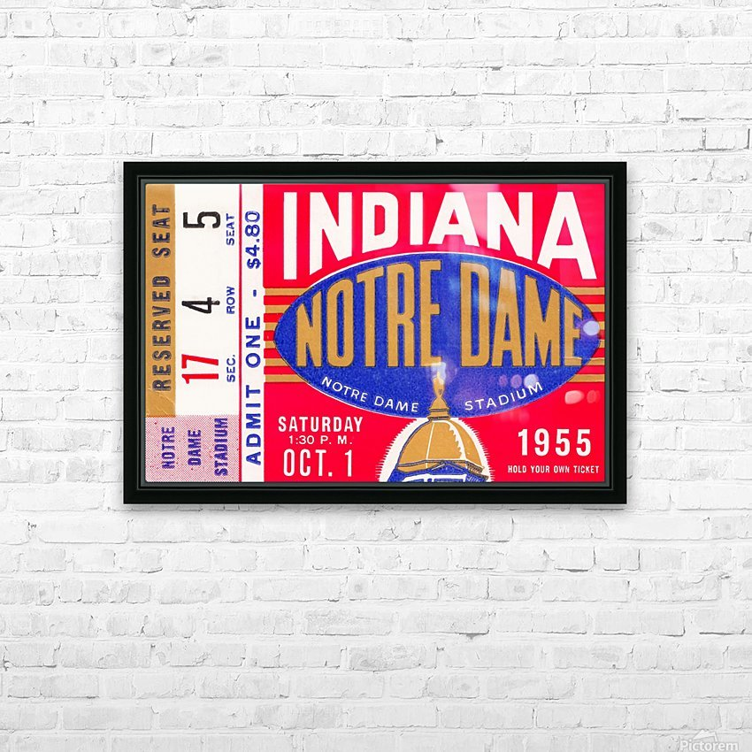 1955 indiana notre dame football ticket stub wall art canvas posters wood HD Sublimation Metal print with Decorating Float Frame (BOX)