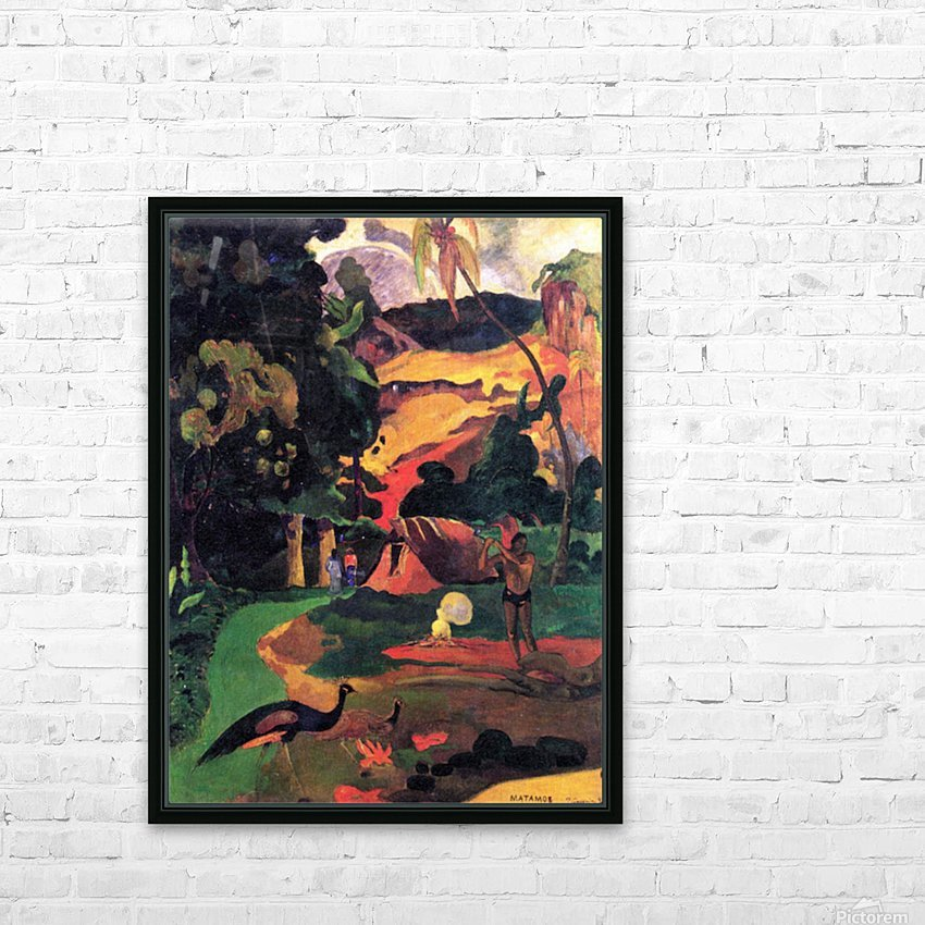 Landscape With Peacocks by Gauguin HD Sublimation Metal print with Decorating Float Frame (BOX)