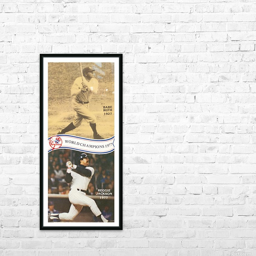 1977 MLB New York Yankees Babe Ruth Reggie Jackson Poster HD Sublimation Metal print with Decorating Float Frame (BOX)