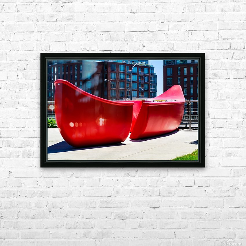 Red Canoe HD Sublimation Metal print with Decorating Float Frame (BOX)