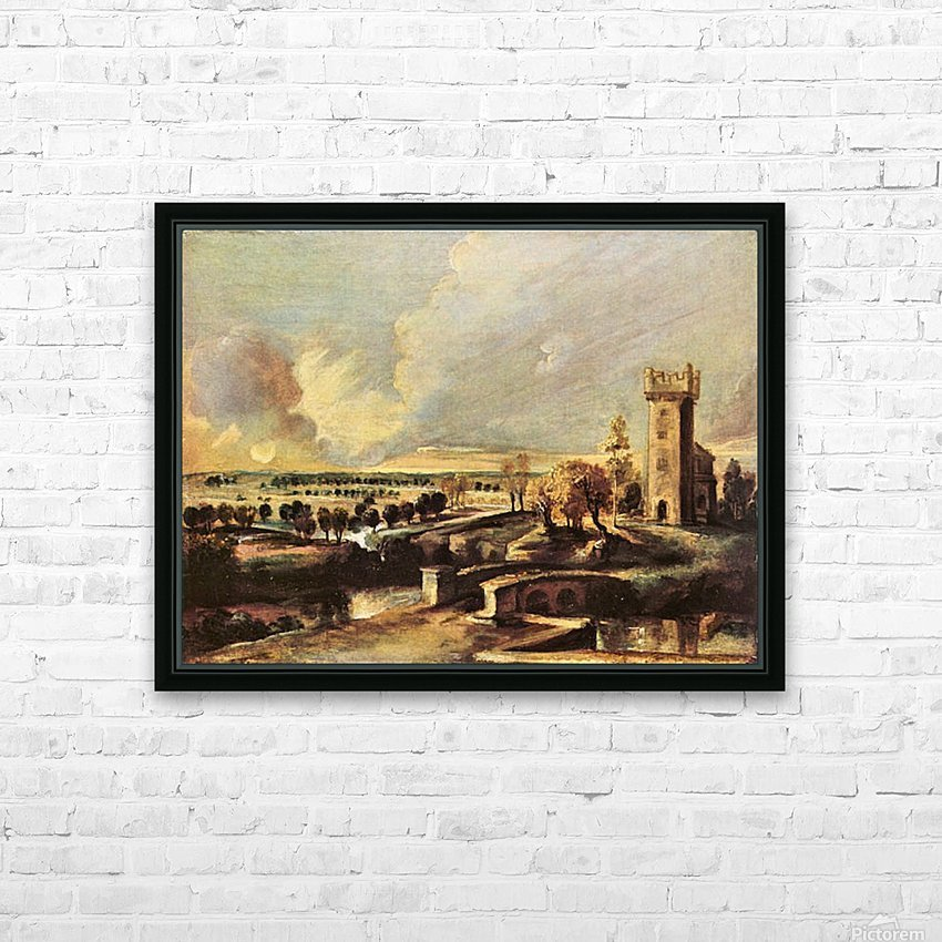Landscape with the tower of the castle Steen by Rubens HD Sublimation Metal print with Decorating Float Frame (BOX)