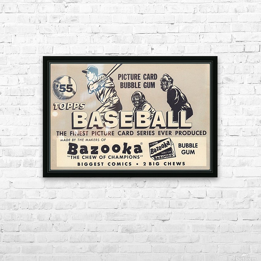 1955 Topps Baseball Bazooka Bubble Gum Vintage Metal Sign HD Sublimation Metal print with Decorating Float Frame (BOX)